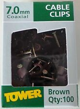Tower Cable Clips 7mm Coaxial Round Wire Nail In Brown Clips Pack of 100