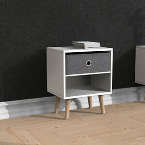 2 Tier Bedside Table Storage Unit Cabinet Sofa Side End Table w/ Fabric Drawer