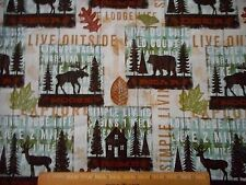 Scenic Fabric BTY By Yard Bear Moose Deer Words Trees Nature Patch Cotton