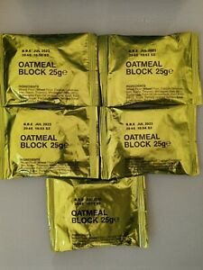 BRITISH ARMY OATMEAL BLOCK | 5-PACK | PREPPER MRE Biscuits 25g - 375kcal RARE!!