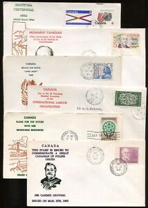Canada FDC 1960 - 1970 Group of SIX Covers w/ GROVER THERMAL INK Cachets -
