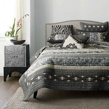 The Company Store Full Queen Quilt  Black Gray Brown Animal Prints Reversible