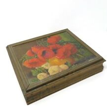 Shabby Vintage Antique Wood Mirrored Jewelry Vanity Ornate Box with Poppy Print