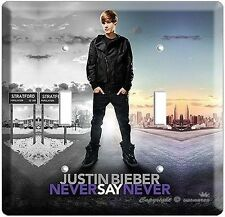 JUSTIN BIEBER NEVER SAY POSTER DOUBLE LIGHT SWITCH COVER TEENAGE GIRL ROOM ART