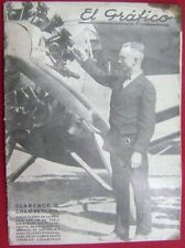 El Grafico Magazine Clarence D Chamberlain Aviator On Cover 1927
