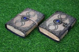 vintage leather journal antique color deckle rustic edge paper third eye stone