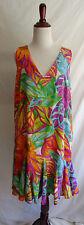 Lauren Ralph Lauren 14 Bright Tropical Flower Abstract Print Summer Beach Dress