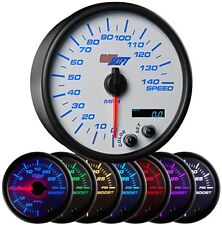 """GlowShift White 7 Color 3 3/4"""" In Dash Speedometer Gauge GS-W717"""