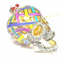 "Avant-Garde Gold Brass / Multi-colored Enamel Skull w/ Hinged Open Jaw 24"" Chain"