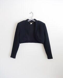 Vintage 80s Casadei Black Long Sleeve Cropped Bolero Jacket size Medium
