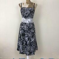 Monsoon Dress 14 Black White Floral Aline Empire Monochrome Fit Flare Occasion