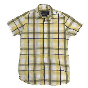 David Smith Mens Shirt Yellow Check Short Sleeve Size M Egyptian Cotton Buttons