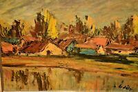 ERDELYI European Impressionist Village Home River Lake Landscape Oil Painting