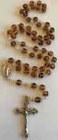 Catholic Amber Czech Glass 5 Decade Rosary Crucifix, Italy