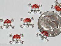 2 Pc Miniature dollhouse tiny rounded Flatbacks crystal Halloween Skull Red