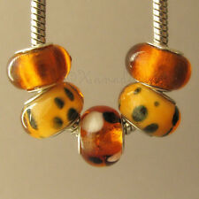 5PCs Golden Amber Brown Lampwork Glass Beads For European Style Charm Bracelets