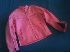 Women's Pink Armored Leather Motorcycle Jacket