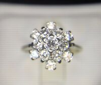 Estate 18k White Gold Round Brilliant Diamond Cluster Cocktail Ring 3/4 ct