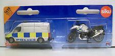 Siku 1655 Miniatura policía van (8cm Long) y Motorcycle (6cm) Diecast/plástico