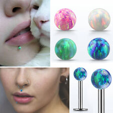 """16g Straight Labret Silver Post Colored Synthetic Opal Stud Piercing 1/4""""-5/16"""""""