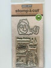 Hero Arts Clear Stamp & Cut Thin Metal Die Set Eat Cake All Day DC210 NEW
