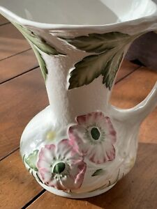 Vintage James Kent Poppy Flower White Jug Pitcher Vase Decor