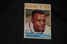 AMADO SAMUEL 1964 TOPPS SIGNED AUTOGRAPHED CARD #129 NEW YORK METS