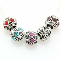 20pcs Vintage Silver Tone Mix Color Spacer Beads For European Charm Bracelet E48