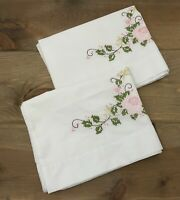 Vintage Pair Hand Embroidered Pillowcases Floral Spray White Standard Excellent