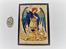 ST. MICHAEL GERMAN WRITTEN 1 FAITH BLESSED MEDAL PRAYER CARD GERMAN LANGUAGE