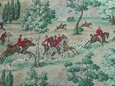 Sanderson Curtain Fabric 'Tally Ho' 3.2 METRES Evergreen/Crimson - 100% Linen