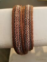 Nakamol Chain & Leather Wrap Bracelet RoseGold/Silver/Gunmetal bracelet NWT