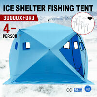 Pop-up 4-person Ice Shelter Fishing Tent Winter Shanty Portable Anchors Stable