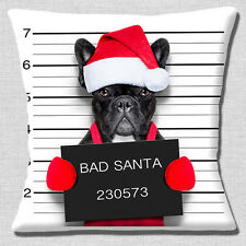 Funny French Bulldog Cushion Cover 16x16 inch 40cm Christmas Bad Santa Mug Shot