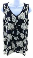 Rue Juju Top Womens Size Small Navy Blue and White Floral Sleeveless