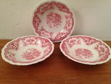"Vtg John Maddock England Red Transferware BOMBAY 5.5"" Berry Bowl/Fruit Dishes"
