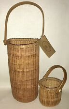 Nantucket Home hand crafted wicker wine bottle basket with tag + small basket