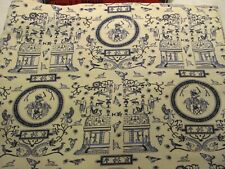 """Unusual Abstract Blue & Ivory Superior Quality Shower Curtain Euc 72"""" X 68"""""""