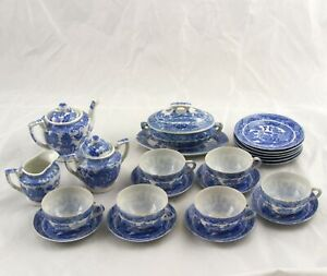 Antique Toy Land Series Blue Willow Childs Tea Dinner Set Complete for 6 - 26 pc