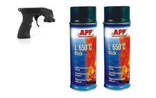 2 bombe de peinture haute température noir en aerosol 650° + 1 poignée aerosol