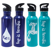 750ML Stainless Steel Drink Water Bottle Outdoor Sports Cycling Camping Straw