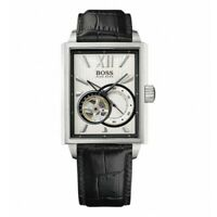 Hugo Boss 1512504 Rectangle Silver Dial Leather Strap Automatic Men's Watch