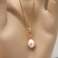 ✨ Kette 42cm & Perlen weiß + Kristall lachsfarbig Anhänger weiß ygf 14k Gold 585