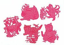 Chinese Paper Cuts Cat Set Red Color 10 small pieces Zhou