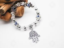 Silver Hamsa Bracelet Glass Hand of Fatima Islam Muslim Luck Reiki Evil Eye UK