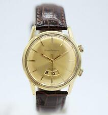 Vintage Girard Perregaux Alarm Leather Gold Plated 34mm Manual Wind Wrist Watch