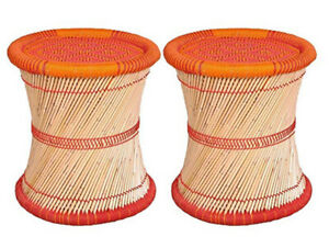 """14"""" Inches Eco-Friendly FootStool/Muddha  For Meditation 2 Pieces in Red-Orange"""
