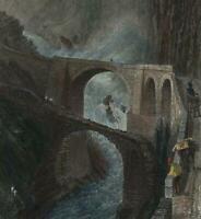 Devil's Bridge Canton Uri Switzerland c.1840 Bartlett hand color engraved print