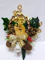 Vintage Christmas Corsage NATIVITY Sugar Bells Gold Bouillon Wire Package tie