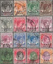 "Malaysia 1945-8 KGVI 1c to $5 ""BMA MALAYA"" OVERPRINTS (16) (incl shades) USED"